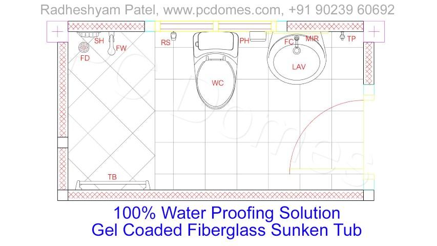 Toilet Sunken,waterproofing solutions,fiber mesh uses,Concrete Bathroom Toilet Leakage Waterproofing,Gel Coated Fiberglass Sunken Tub Is the best Waterproofing Solution